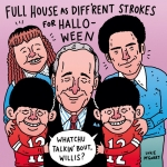Halloween week costume idea #1: Full House as Diff'rent Strokes... Two shows I've never actually seen. #fullhouse #diffrentstrokes #olsentwins #bobsaget #johnstamos #djtanner #halloween #illustration #drawtober #drawingaday