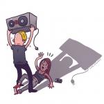 """""""Please Richie, don't hurt 'em!"""" #richiehawtin #techno #timewarp #plastikman #illustration #drawingaday"""