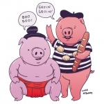 Foreign swine! #pigs #Japan #france #sumo #illustration #drawingaday #booboo