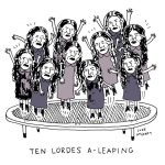 It's the 10th Day of Christmas! Here are 10 Lordes a-leaping.  #Lorde #Christmas #trampoline #lordemusic #illustration #drawingaday