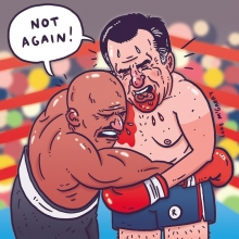 Holyfield Romney fight. #Holyfield #Romney #mittromney #boxing #illustration #drawingaday