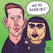 I summed up that @itswillymoon @nataliakills @xfactornz thing. Then made the background green for St Patrick's Day!  #willymoon #nataliakills #xfactor #xfactornz #illustration #drawingaday #stpatricksday