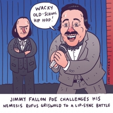 Here's a really quick, stupid one for you literature nerds. Jimmy Fallon Poe challenges his nemesis Rufus Griswold to a lip sync battle. #jimmyfallon #edgarallanpoe #lipsync #lipsyncbattle #latenight #illustration #drawingaday