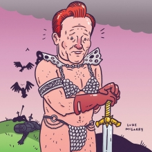 I COMPLETELY misunderstood this illustration briefing... But why should only my eyes suffer? Also, I made it to 5000 followers! Thanks! Hooray! #ConanObrien #conan #redsonja #metalbikini #teamcoco #illustration #drawingaday