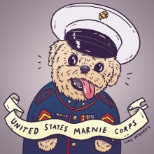 The only troops I can support. Haha. @marniethedog #marniethedog #semperfi #illustration #drawingaday #fanart