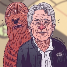 That new Star Wars trailer.  #starwars #theforceawakens #hansolo #chewbacca #harrisonford #illustration #drawingaday
