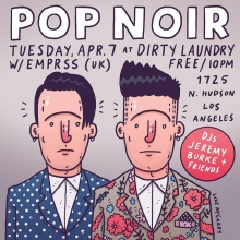 My brother @joepopnoir and I (@pop.noir) are playing a show TOMORROW NIGHT at @downlowtuesdays @dirtylaundrybar in Hollywood. No cover! 10 pm! Come it!  #popnoir #illustration #drawingaday #livemusic #Hollywood #losangeles #dirtylaundry