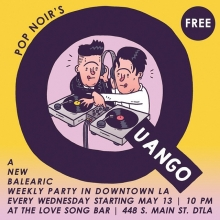 In less than two weeks, @joepopnoir and I are launching our own weekly Balearic party called #QUANGO at @thelovesongbar at @RegentTheaterLA in DTLA. I've wanted to do this since I was 15 so it'll be brilliant and you should all come it. Every Wednesday starting May 13! #popnoir #quango #dtla #lovesong #dj #balearicdisco #illustration #drawingaday