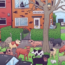 People seem to like my dog drawings... So here's a piece I did a while back about the packs of feral dogs that roamed around my hometown of Wythenshawe. That's my gran's house in the background! #wythenshawe #manchester #dogs #dogsofinstagram #illustration #drawingaday #hollyhedgeroad #chavcat