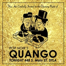 Just a reminder about the opening of @thequango TONIGHT at @thelovesongbar in DTLA. It's going to be a lot of fun, it's free, and it starts at 10pm. L8er Sk8ers. #balearicdisco #popnoir #illustration #drawingaday #goldleaf #dtla #clubnight