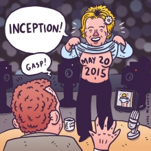 Inception 2: almost 20 years to the date after Drew Barrymore flashed David Letterman, the image that has haunted him all these years is finally revealed. #letterman #davidletterman #finale #drewbarrymore #illustration #drawingaday #latenight #inception