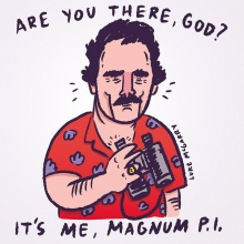 What was the joke again? #areyoutheregod #judybloom #lukeybloom #magnumpi #tomselleck #illustration #drawingaday
