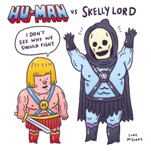 """I haven't done a @sketch_dailies drawing in a while, so here's my totally original comic creation """"Hu-Man vs Skelly Lord"""" that bears no resemblance to He-Man whatsoever.  #sketch_dailies #heman #skeletor #illustration #drawingaday #comic"""