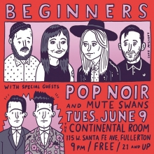 TONIGHT at @thecontinentalroom in Fullerton, we join our pals @_beginners on night 2 of their residency! You should come!  @pop.noir @ocweekly #livemusic #orangecounty #illustration #drawingaday