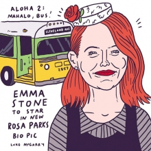 """Quick one. Aloha 2: The Rosa Parks Story, starring Emma Stone. """"Sometimes, you have to say 'Aloha' to the front of the bus."""" #aloha #emmastone #hollywood #illustration #drawingaday #hawaii #civilrights"""