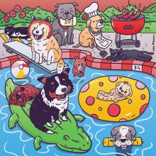 I drew some dogs having a barbecue/ pool party for @fyffest & @goldie_pup's Great Escape Pet Adoption Drive. It's August 2nd and @marniethedog will be there!  #dogs #marniethedog #fyffest #illustration #drawingaday
