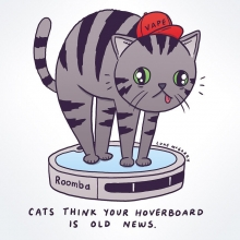 Cats have had hoverboards for ages but they call them Roombas.  #cat #catsofinstagram #roomba #irobot #hoverboard #swagway #illustration #drawingaday