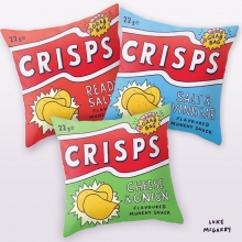 I had the daft idea that big cartoony crisp packets would look good as sofa cushions, so I made some and you can order them from my web shop with FREE SHIPPING TODAY ONLY! Link in bio. #crisps #chips #illustration #drawingaday #cushions