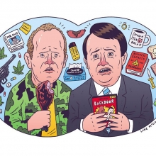 I drew my absolute favorite show of all time, Peep Show, for the new issue of @larecordmagazine so you should pick it up when it comes out.  #peepshow #channel4 #mark #jez #davidmitchell #robertwebb #illustration #drawingaday #larecord #mummy #gunny