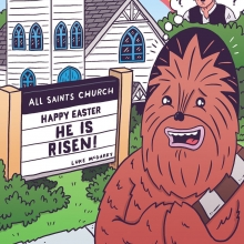 Chewie is about to be REALLY disappointed. Special Easter Sunday edition of Sad Chewie for @superdeluxe! #easter #sadchewie #chewbacca #starwars #heisrisen #illustration #drawingaday #jesus