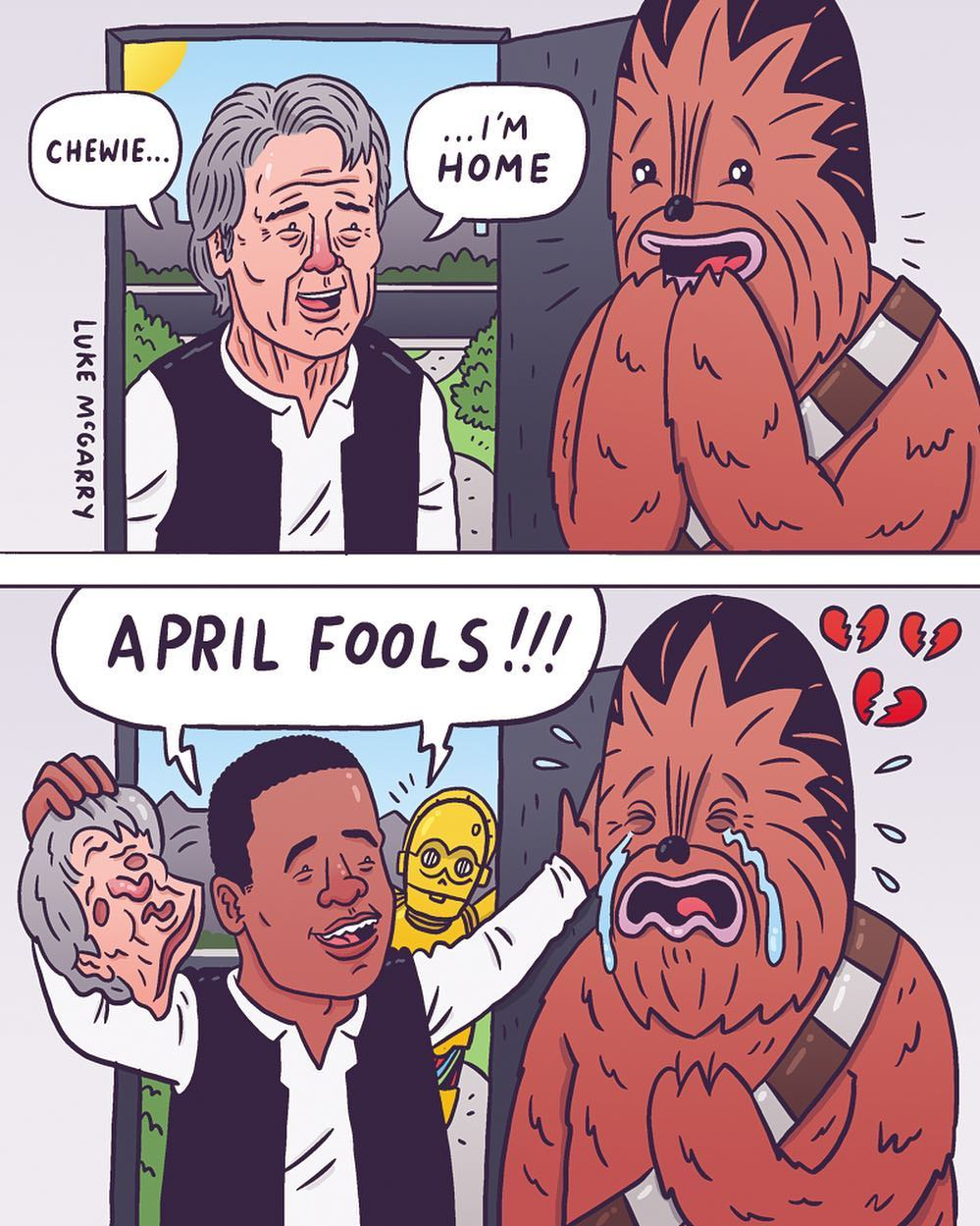 #sadchewie #aprilfools #chewbacca #hansolo #starwars #superdeluxe  #illustration #drawingaday