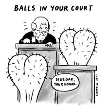 This is my New Yorker cartoon. These balls are upstanding. #newyorker #balls #judge #court #illustration #drawingaday